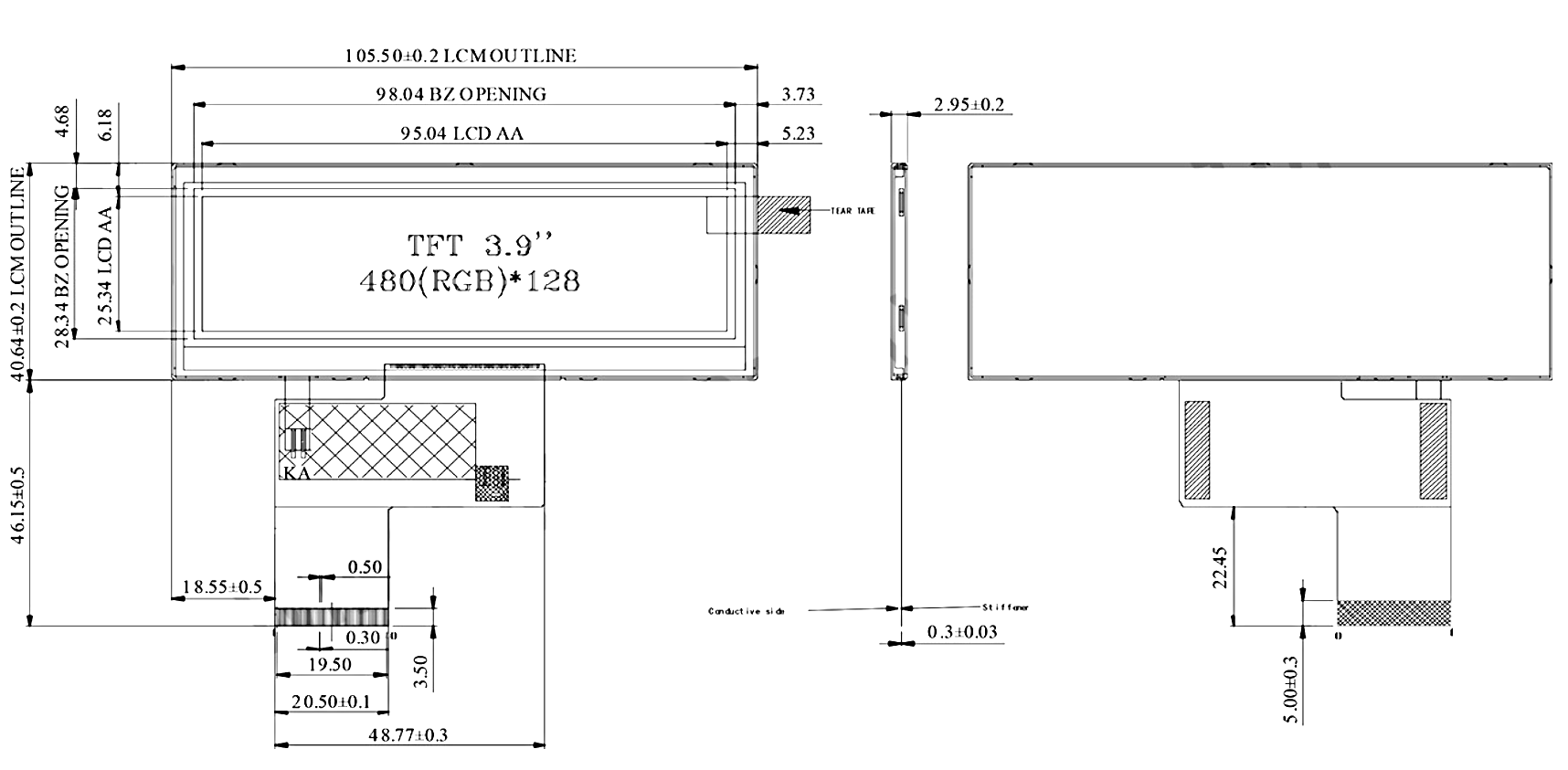WF39ATIASDNN0# - LCD-TFT display from Winstar Co  (3 9 inches, 480x128, no  controller)