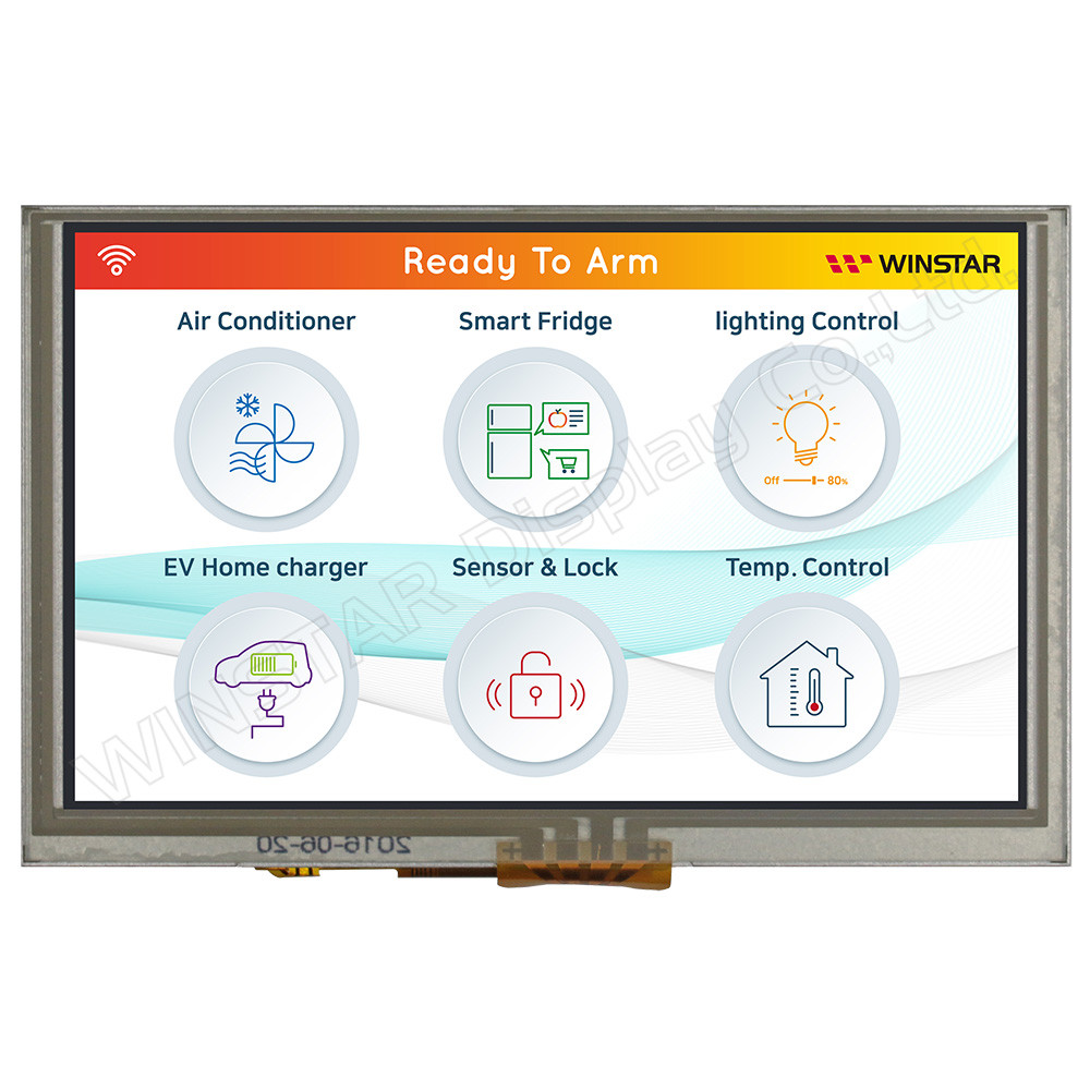 WF50BTIFGDHTV# - LCD-TFT display from Winstar Co. (5.0 inches, 800x480, TFP401 controller, resistive touch screen)