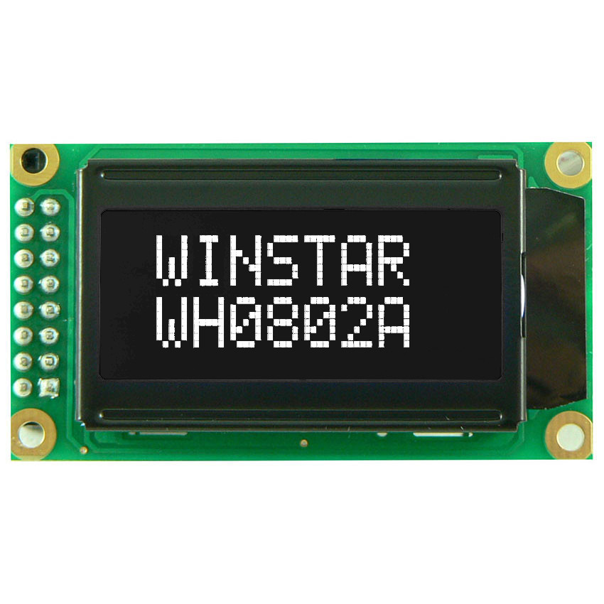 WH0802A-TTI-CT# - Character LCD display from Winstar Co. (8 characters x 2 lines, transmissive, negative FSTN, black background, white characters)