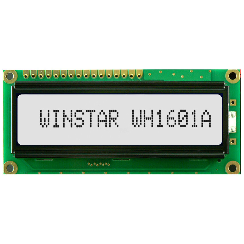 WH1601A-TFH-CT# - Character LCD display from Winstar Co. (16 characters x 1 line, transflective, positive FSTN, white background, black characters)