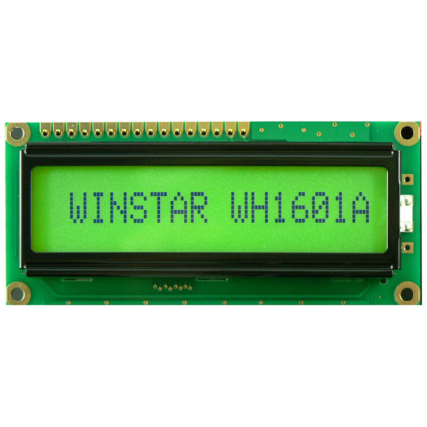 WH1601A-YYH-CTK# - Character LCD display from Winstar Co. (16 characters x 1 line, transflective, positive STN, yellowgreen background, black characters)