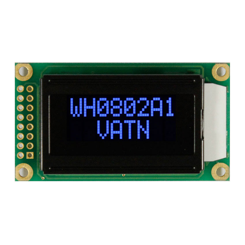 WH0802A1-PLL-CWVE# - Character LCD display from Winstar Co. (8 characters x 2 lines, transmissive, negative VA, black background, blue characters)