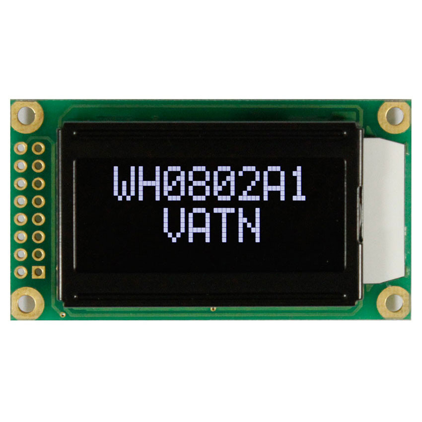 WH0802A1-SLL-CWV# - Character LCD display from Winstar Co  (8 characters x  2 lines, transmissive, negative VA, black background, white characters)