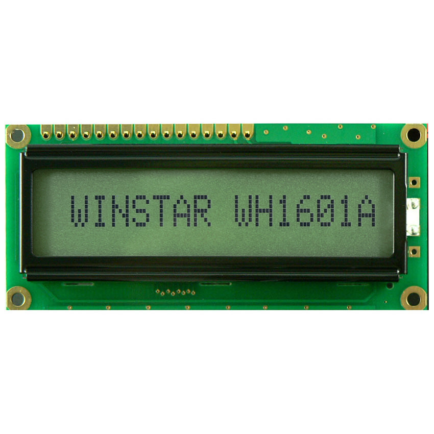 WH1601A-NYG-CT# - Character LCD display from Winstar Co. (16 characters x 1 line, reflective, positive STN, yellowgreen background, black characters)