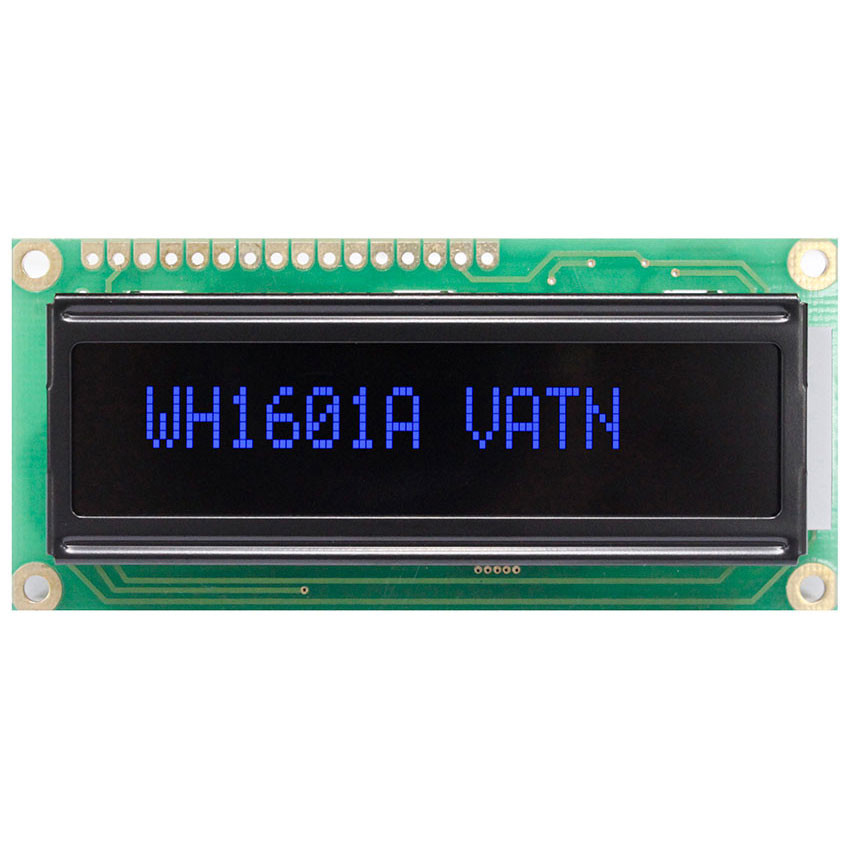 WH1601A-PLL-CWVE# - Character LCD display from Winstar Co. (16 characters x 1 line, transmissive, negative VA, black background, blue characters)